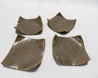 Set of 4 TAPAS Brown Plates
