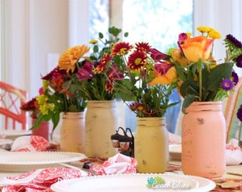 Fall Centerpiece / Home Decor / Thanksgiving / Autumn Decor / Painted mason jars / rustic home decor / vase / red orange green / set of 6