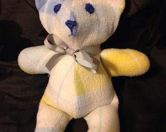 Keepsake Teddy Bear - Upcycled baby blanket or pajamas / T-shirt bear