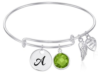 INITIAL Expandable Wire Bangle Bracelet with AUGUST Birthstone Charm and Angel Wing Charm Silver Finish