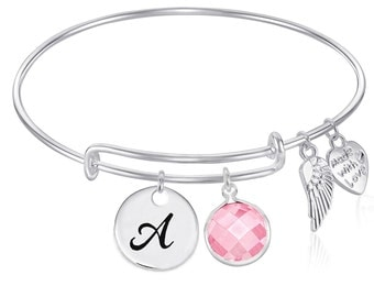 INITIAL Expandable Wire Bangle Bracelet with OCTOBER Birthstone Charm and Angel Wing Charm Silver Finish