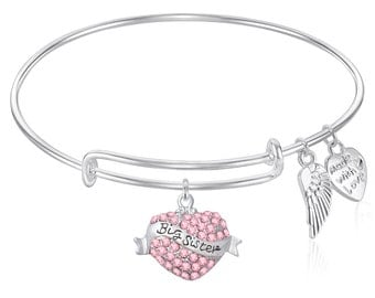 BIG SISTER Little SISTER Expandable Wire Bangle Bracelet Gift Boxed
