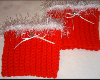 Jingle Bell Holiday Crochet Boot Cuffs -Red with White Fuzzy Trim- Boot Toppers, Leg Warmers, Leg Cuffs, Boot Sleeve, Ribbed,