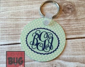 Double-sided monogrammed metal keychain - 2 inch