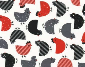 Urban Zoologie - Chickens Red and Black - 1/2 Yard Cut