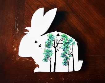 Handmade Reclaimed Wood Painted Rabbit Sign, 35% of the proceeds support the House Rabbit Society!