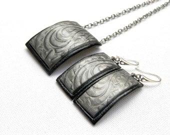 Gray Jewelry Handmade jewelry Pendant Earrings Grey Black Polymer Jewelry Grey Earrings Mica Shift Elegant Jewelry Gift For Her
