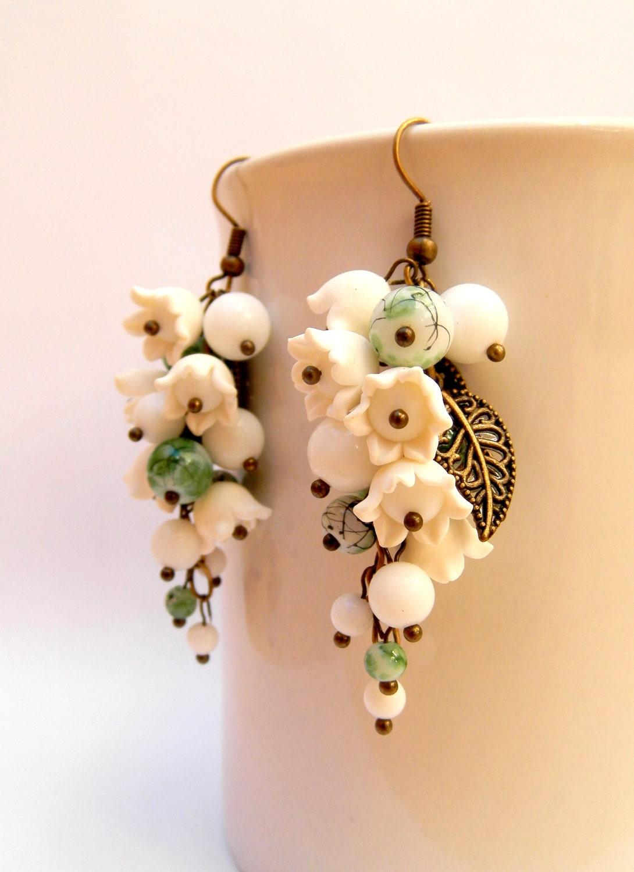 Flower Earrings White Green Flower Jewelry White Flowers Lily