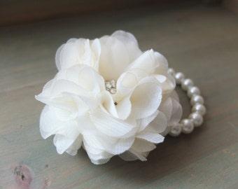 Wrist Corsage, Chiffon Flower Corsage (Off White), Off White bridal Corsage, White Chiffon Rose corsage