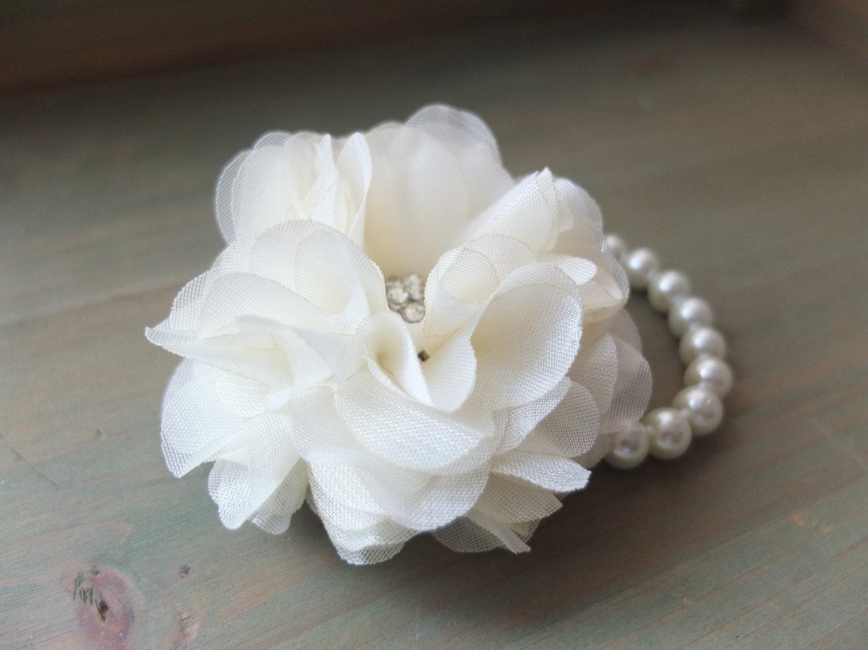 Wrist Corsage Chiffon Flower Corsage f White by LoveMimosaFleur
