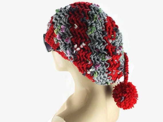 Large Slouchy Beanie , Hand knitted Bordeaux Womens hat with a pompom