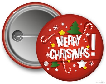 Merry Christmas // Great For Stocking Stuffers or Holiday Parties // Pin Back Button