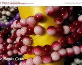 ON SALE 8mm  RED eclipse Glass beads