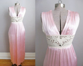 1930s Nightgown Pink Satin Lace 30s Vintage Lingerie / Small XS