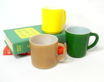 SALE!  3 Milkglass Mugs, Variety Set Milk Glass Mugs, Milk Glass Coffee Mugs, Coffee Cups Vintage