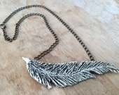 Black and White Hand-carved Feather Necklace