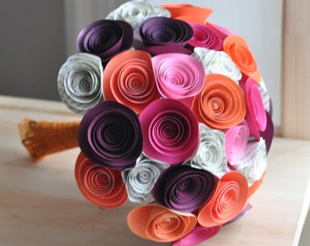 Bridal Bouquet pink and orange Paper flower Bouquet Bridesmaid bouquet alternative bouquet