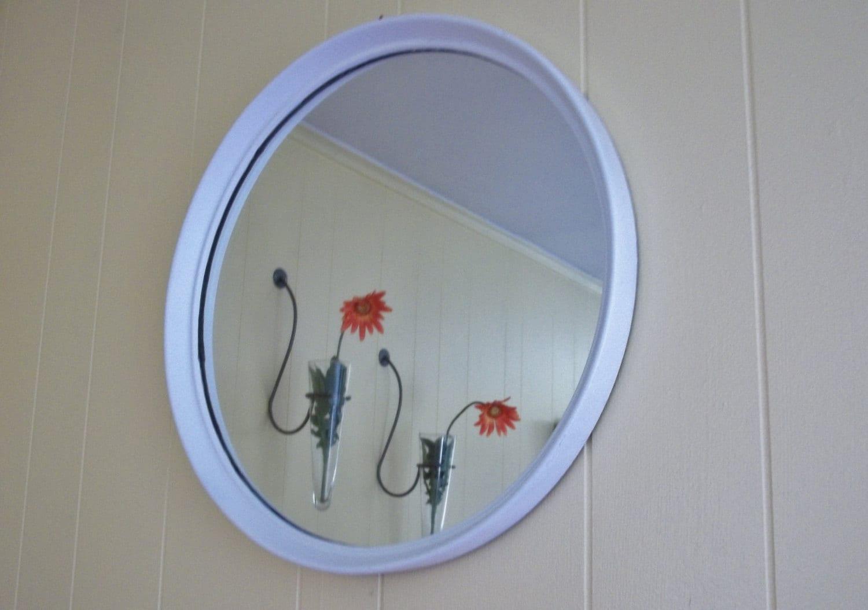 Round Mirror White Circle Mirror Chalkware Wall By