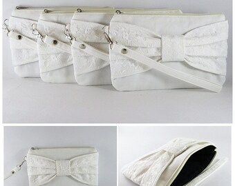 SUPER SALE - Set of 6 Ivory Lace Bow Clutches -Bridal Clutch,Bridesmaid Clutch,Bridesmaid Wristlet,Wedding Gift,Zipper Pouch - Made To Order