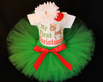 Baby's First Christmas Outfit  - Babys 1st Christmas -  My First Christmas Tutu Set  - Baby Girls 1st Christmas Reindeer Set - CTHP1403G2
