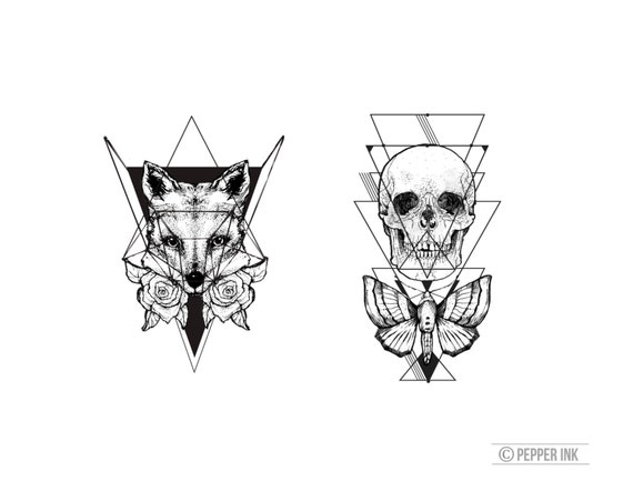 Items Similar Geometric Skull Temporary Tattoo