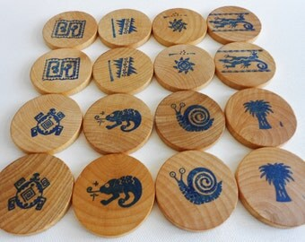 Wood matching game  wooden memory game lotto toy game of South American design motifs
