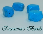 Chalk Turquoise Faceted Nugget Beads- Set of 4