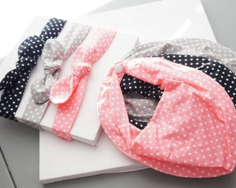 Adjustable-Personalized Bandana Bibs+Bow knot fabric headbands Set of 6-#616