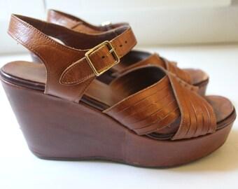 1970s Sbicca Leather Platform Wedge Sandals Vintage Shoes