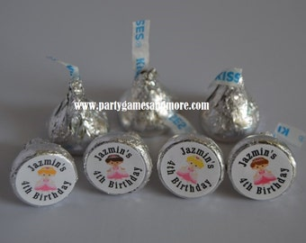 Unique Personalized Princess Hershey's Kiss Labels, Candy Wrappers Birthday Party Favor Gift Tags
