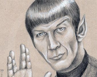 Leonard Nimoy as Spock Original Drawing Fine Art Print