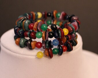 Fun and Fashionable Multi Colored Beaded Memory Wire Bracelet