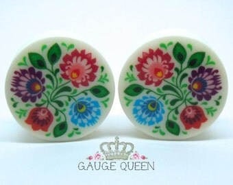 "Polish Folk Art 1 Plugs / Gauges 4g /5mm, 2g /6.5mm, 0g /8mm, 00g /10mm, 1/2"" /12.5mm,9/16"" /14mm,5/8"" /16mm,3/4"" /19mm, 7/8"" /22mm,1"" /25mm"