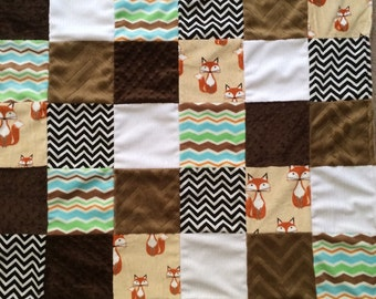 Minky Patchwork Blanket Fox