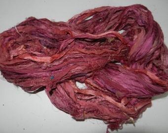Recycled Sari Silk Ribbon Yarn,3.5 oz / 100 grams, 60 yards Bulky,Maroon