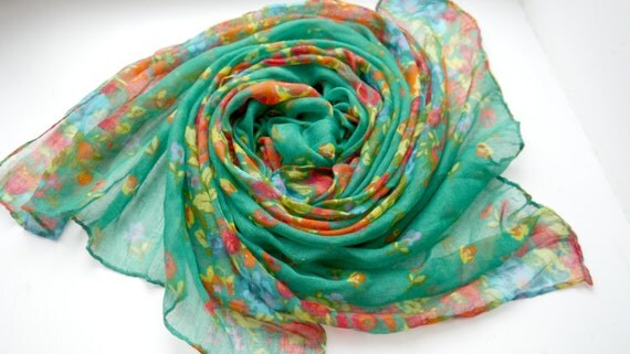 Mothers Day Floral Scarf, Printed Scarf, Cotton Scarf, Handmade Scarf, Women's Scarf, Gift for Her, Gift for Girlfriend