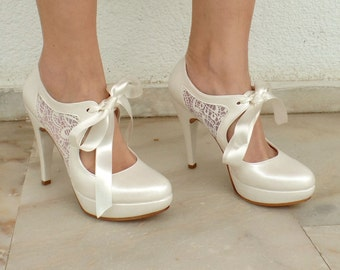"Wedding Shoes - Bridal Shoes with Ivory Lace and Satin Ribbons, 4 3/4""Heels"