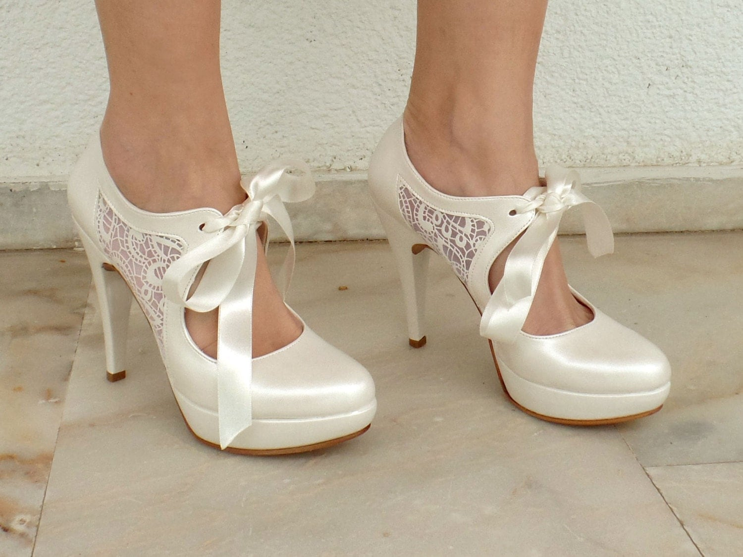 Wedding High Heels Ivory: Wedding Shoes Bridal Shoes With Ivory Lace And Satin
