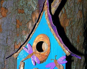 bird house, birdhouse with dragonflies, metal roof, faux smoking chimney in color options, custom birdhouse, garden art, gift