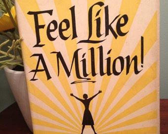Feel Like A Million, vintage self help book, Catharyn Elwood 1960s self help book, Black and yellow book