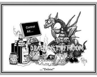 Control,Alt...Delete   Dragon blowing up computer.