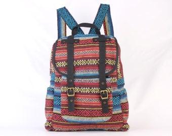 Aztec Backpack Travel Bag Woven Cotton Textile, Southwestern, Boho, Hippie, Unisex (Black Trim)