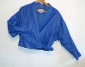 Electric Blue Vintage Leather Jacket ~ 1980s/1990s High Buckled Waist
