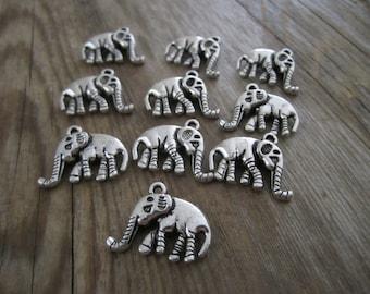 Silver tone elephant charms - 10 pcs.  double sided silver metal elephant charms, silver tone elephants, animal charms, 10 pcs.