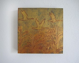 SALE- Canadian Geese Gold Silhouette Painting on Wood