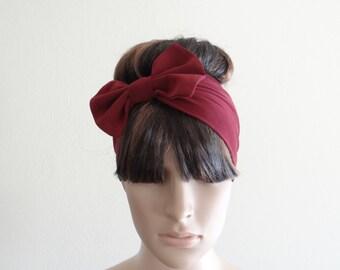 Burgundy Bow Headband. Bow Head Wrap