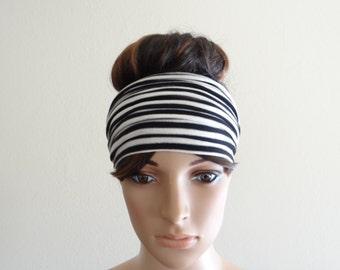White And Black Stripe Headband. Wide Head Wrap