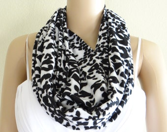 White And Black Print Circle Scarf. Loop Scarf. Infinity Scarf