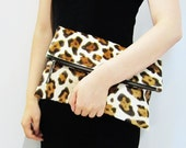 SALE - Leopard Print in light brown and brown Calf Hair Fold Over Zipper Pouch Leather Clutch