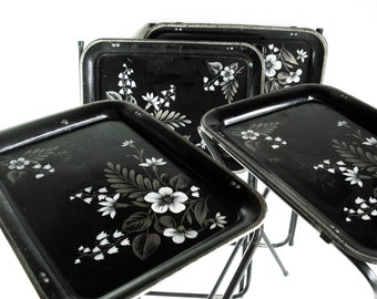 Vintage Metal TV Trays Black White and Silver Painted Tin Standing TV Trays